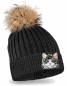 Preview: Katze Strickmütze mit Bommel Kinder Beanie Sweet Cat