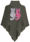 Preview: Kinder Poncho Wende Pailletten Katzen Streichel Cape Graphit