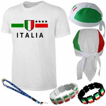 Italien T-Shirt Kinder + Fußball Fan Artikel Set 5 tlg.