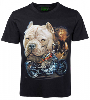 Biker T-Shirt Pitbull mit Bike