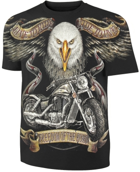 Biker T-Shirt Motorrad und Adler Freedom of the road