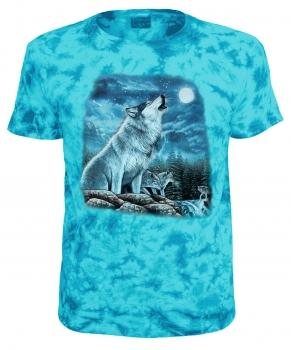 Kinder T Shirt Tiermotiv Wölfe Am Wasserfall Blau Batik